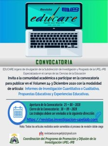 Convocatoria para el Volumen 24, N° 3 de la Revista Educare