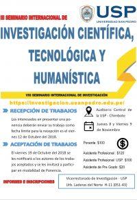 III Seminario Internacional de Investigación Científica, Tecnológica y Humanística USP 2018