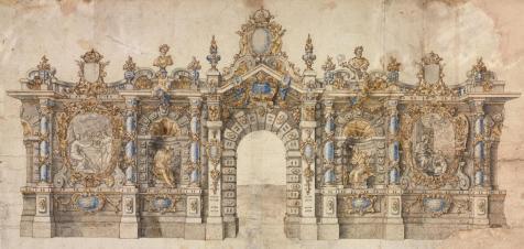 Anónimo: Arquitectura efímera para la entrada de Felipe V. Biblioteca Nacional, Madrid.