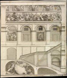 Lázaro Gómez: Seccíon de la escalera principal de El Escorial. Biblioteca Nacional de España.