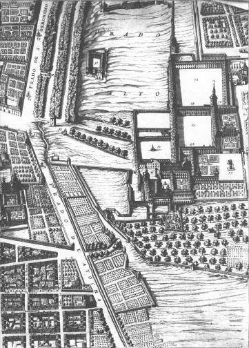 Pedro de Texeira: Detalle de la Topographia de la Villa de Madrid, grabado en Amberes en 1656.