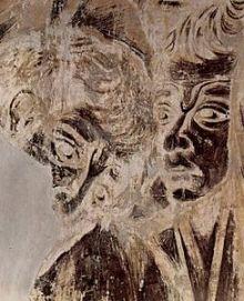 """Cimabue: Detalle del aspecto actual de """"La Crucifixión"""". Basílica de San Francisco de Asís"""