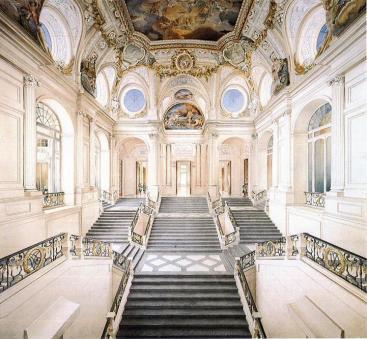 Reconstrucción virtual de la escalera diseñada por Sachetti para el Palacio Real y nunca construída. Fuente Wikicomons.