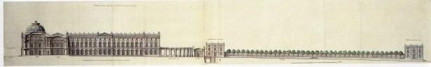 Robert de Cotte: Primer proyecto. Sección Longitudinal, 1714-1715. Biblioteca Nacional de Francia, París.