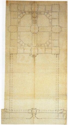 Robert de Cotte: Segundo proyecto para el Palacio del Buen Retiro. Planta del piso bajo y patio, 1714-1715. Biblioteca Nacional de Francia, París.