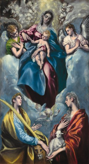 El Greco (Domenikos Theotokopoulos) (Greek, 1541 - 1614 ), Madonna and Child with Saint Martina and Saint Agnes, 1597/1599, oil on canvas, wooden strip added at bottom, Widener Collection