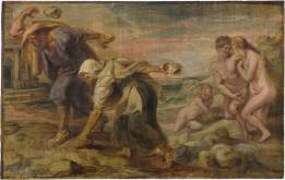 Pedro Pablo Rubens: Deucalión y Pirra. Óleo sobre tabla. 26,4x41,7 cm. Madrid, Museo Nacional del Prado.