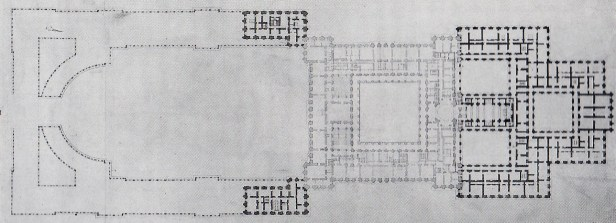"""Francisco Sabatini. Proyecto para el """"Aumento"""" del Palacio Real. ca. 1764/77. Planta principal. AGP"""