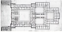 """Francisco Sabatini. Proyecto de """"Ampliación"""" del Palacio Real. Planta baja. AGP"""