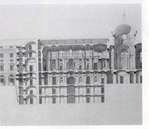 Francisco Sabatini. Detalle de la sección de la capilla en el proyecto de Aumento del Palacio. ca. 1790. AGP