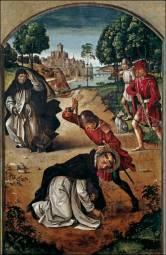 Pedro Berruguete: Muerte de San Pedro Mártir. Museo del Prado. Procedente del retablo de San Pedro del claustro alto de santo Tomás de Ávila