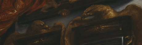 Detalle de los espejos de las águilas del Salón de los Espejos en el retrato de Carlos II de Juan Carreño de Miranda.