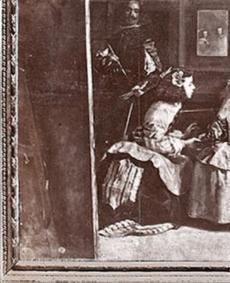 Las Meninas con el marco de Andrés de la Calleja. Fotografía exposición El Grafoscopio.