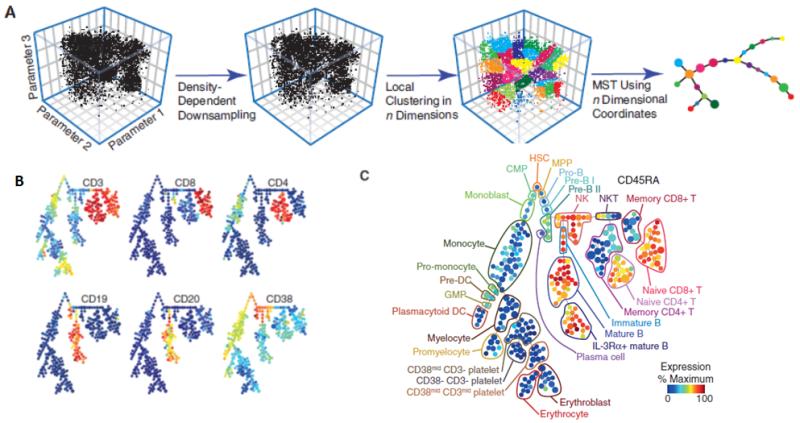 圖四、a. 利用PCA將細胞分群,並畫出樹狀圖;b. 檢視各個參數(基因)在樹狀圖中的表現量,紅色代表最高、藍色代表最低;c. 最後就能將樹狀圖中的每個次群定義出是哪一種細胞。