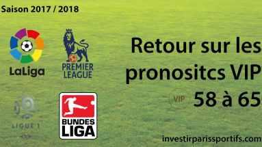 Retour sur pronostics VIP - 58 to 65 investirparissportifs.com
