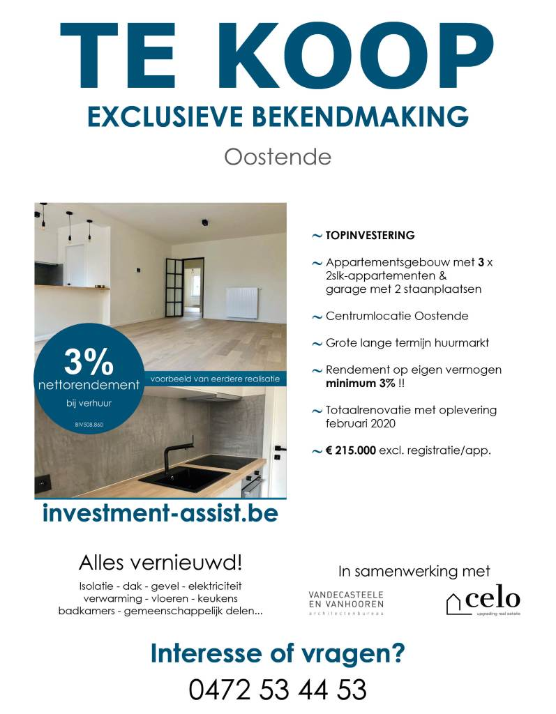 Investment-Assist.be - te koop - appartementsgebouw te Oostende - nabij Wellington Golf