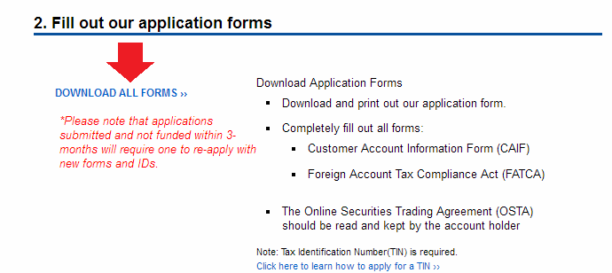 col financial account opening forms