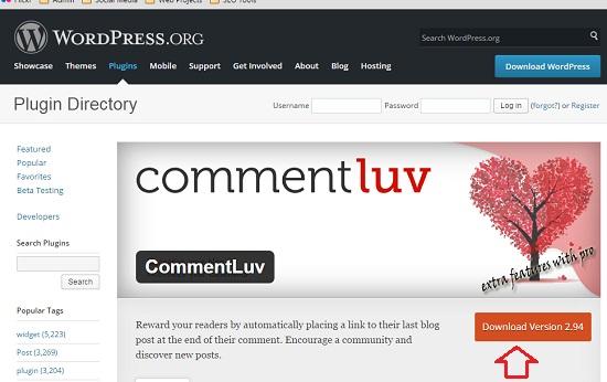 download wordpress commentluv plugin