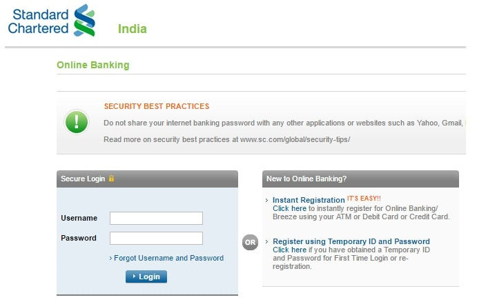 register in standard chartered online banking india
