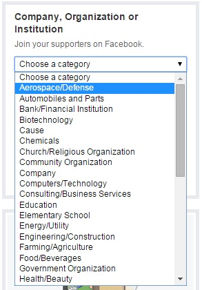 facebook business category