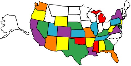 50 States in Alphabetical Order w/ Capitals & Abbreviations on