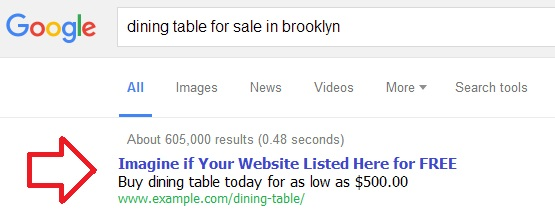 "Search for ""dining table for sale in brooklyn"" and analyze the paid search and the page that rank #1 in search engine results page"