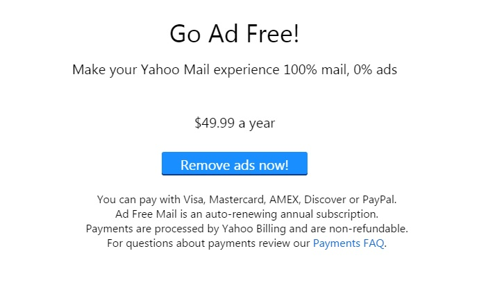 Make Yahoo Mail 100% Ad Free