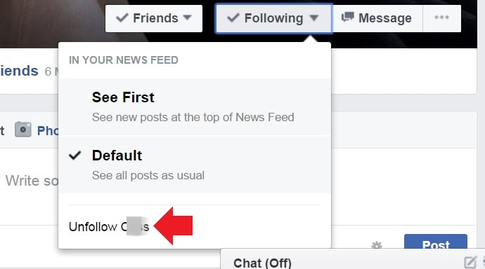 facebook unfollow option on friends profile-min