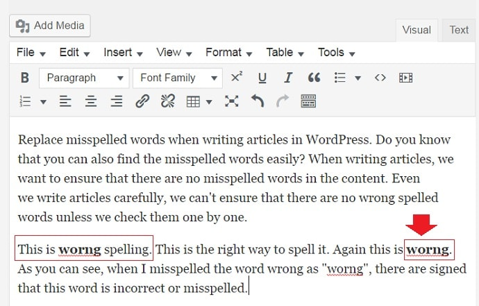 misspelled words checker in wordpress