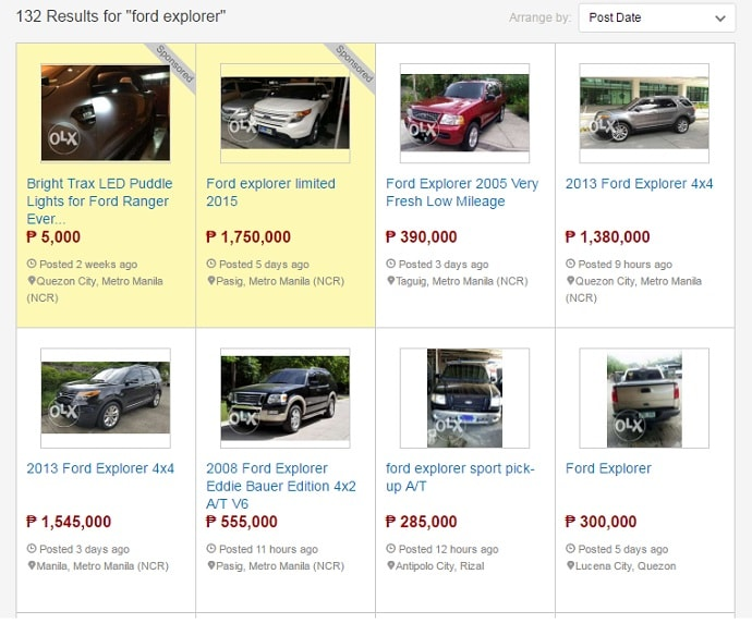 used ford explorer for sale in olx results-min