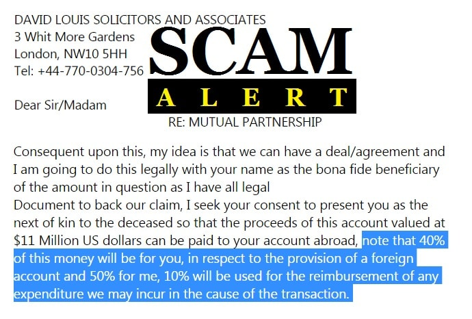 Scam Alert Mutual Partnership from David Louis Solicitors and Associates