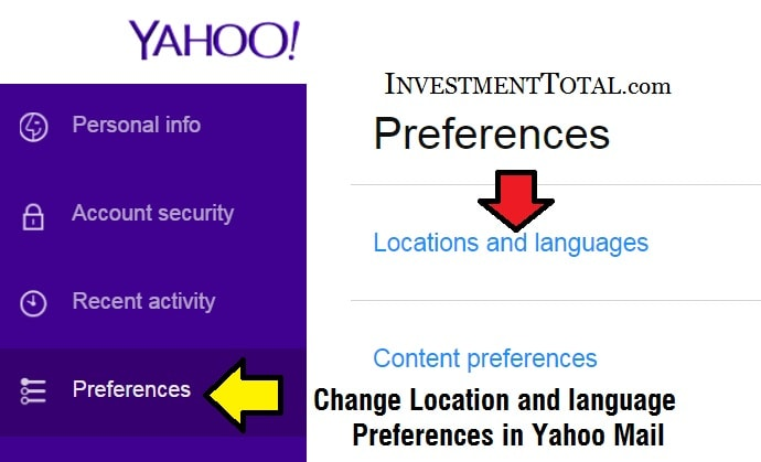 Yahoo Mail Location, Language Content Preferences