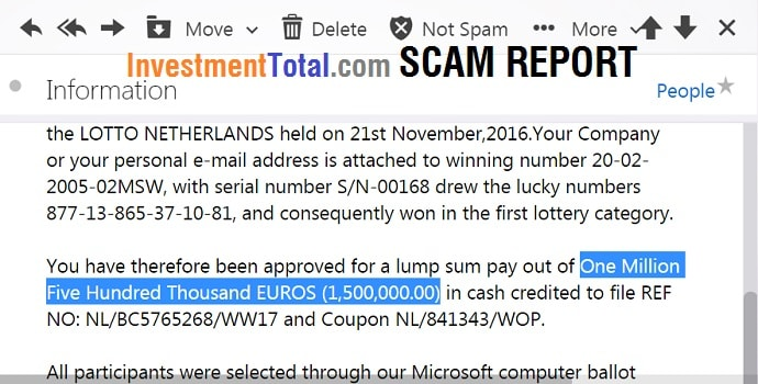Scam Report: Lotto Netherlands Electronic Mail Award Notification