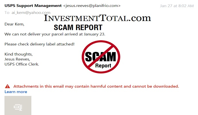 Scam Report: USPS Delivery Problems Email Notification