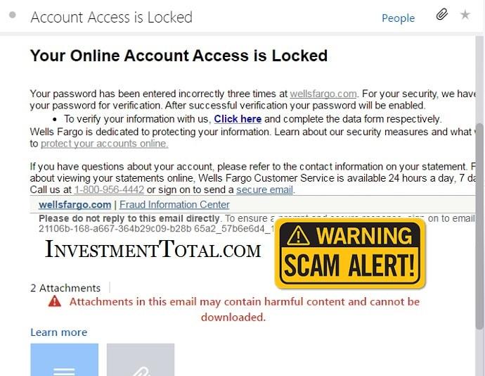 Wells Fargo Online Account is Locked (Scam Alert)