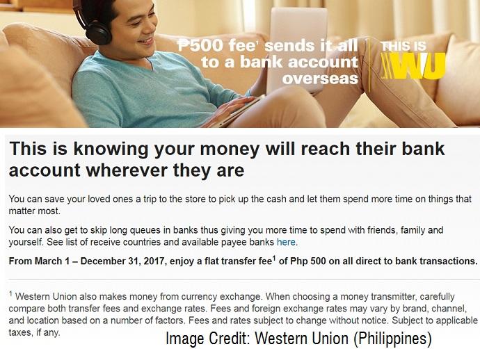 western union send money via bank account