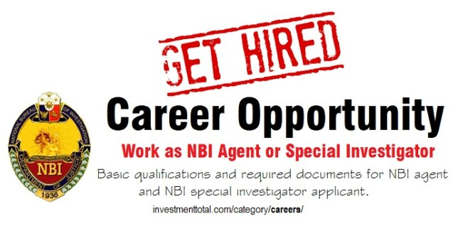 NBI Job Opportunity: NBI Agent and Special Investigator Basic Qualifications