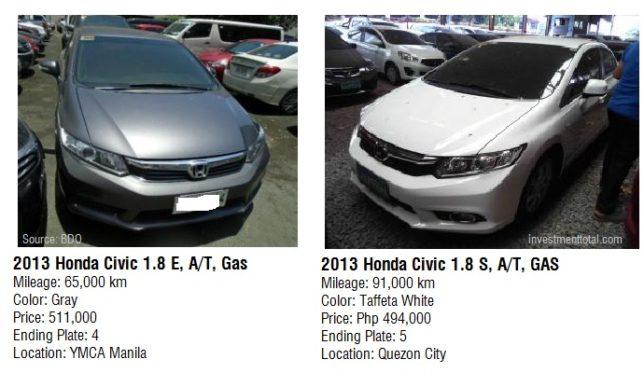 2013 Honda Civic 1.8 E, A/T, Gas Mileage: 65,000 Km. Color: Gray Price:  511,000. Ending Plate: 4