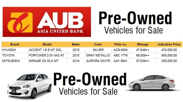 Used Cars For Sale Philippines At Asia United Bank Fortuner Mirage
