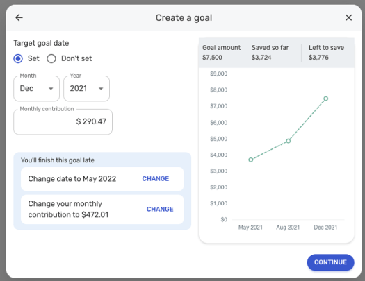 You can adjust goal settings and include contributions in your monthly spending plan.