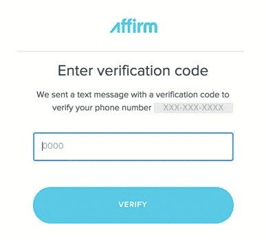 affirm verification code