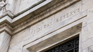 A detail shot of the Federal Reserve building.