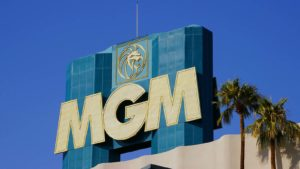 A photo of the MGM logo on the MGM casino building.