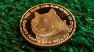 An image of a Golden Dogecoin (DOGE) on a green textured background.