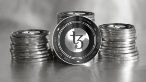 Tezos (XTZ) digital crypto currency. Stack of black and silver coins. Cyber money. 3D Render.