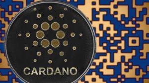 Gettone Cardano (ADA) con sfondo digitale blu e arancione.