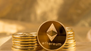 A stack of ethereum coins
