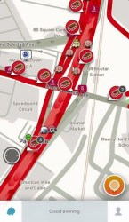 Social navigation app Waze this afternoon - not the colour commuters wish to see