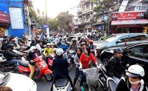 Hanoi motorbike jam