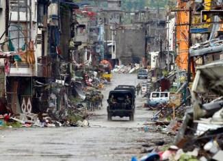 Destruction in Marawi in Muslim Mindanao
